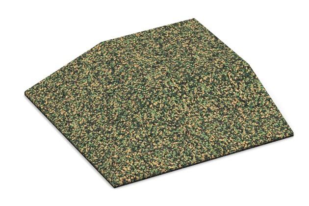 Eck-Platte (zwei Seiten abgeschrägt) von WARCO im Farbdesign Savanne mit den Abmessungen 500 x 500 x 100 mm. Produktfoto von Artikel 3827 in der Aufsicht von schräg vorne.