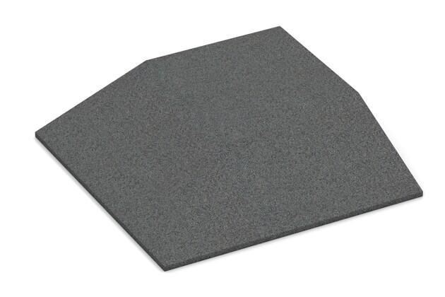 Eck-Platte (zwei Seiten abgeschrägt) von WARCO im Farbdesign schiefergrau mit den Abmessungen 500 x 500 x 100 mm. Produktfoto von Artikel 0502 in der Aufsicht von schräg vorne.