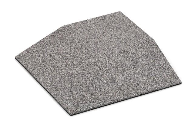 Eck-Platte (zwei Seiten abgeschrägt) von WARCO im Farbdesign Graue Melange mit den Abmessungen 500 x 500 x 100 mm. Produktfoto von Artikel 4506 in der Aufsicht von schräg vorne.