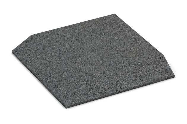 Eck-Platte (zwei Seiten abgeschrägt) von WARCO im Farbdesign schiefergrau mit den Abmessungen 500 x 500 x 65 mm. Produktfoto von Artikel 0490 in der Aufsicht von schräg vorne.