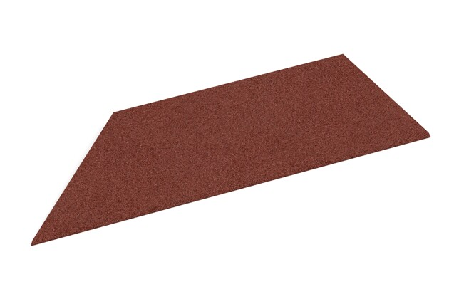 linke Eck-Keilhälfte von WARCO im Farbdesign ziegelrot mit den Abmessungen 750 x 300 x 25/8 mm. Produktfoto von Artikel 2111 in der Aufsicht von schräg vorne.