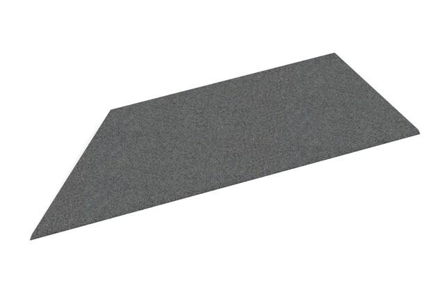 linke Eck-Keilhälfte von WARCO im Farbdesign schiefergrau mit den Abmessungen 750 x 300 x 25/8 mm. Produktfoto von Artikel 2115 in der Aufsicht von schräg vorne.