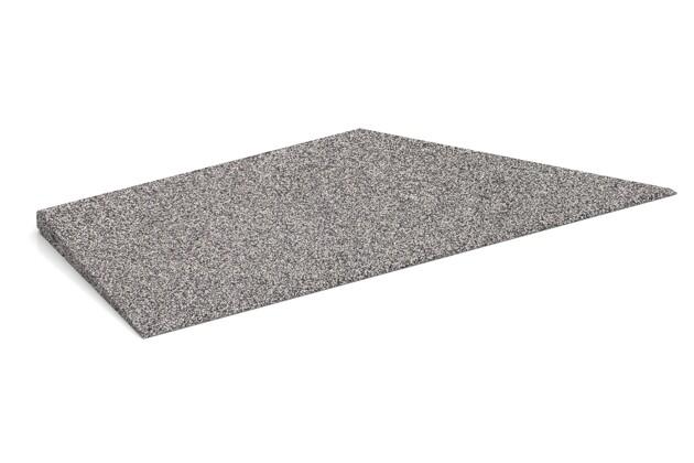 rechte Eck-Keilhälfte von WARCO im Farbdesign Graue Melange mit den Abmessungen 750 x 300 x 30/8 mm. Produktfoto von Artikel 4478 in der Aufsicht von schräg vorne.