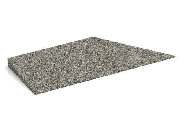 rechte Eck-Keilhälfte von WARCO im Farbdesign Heller Granit mit den Abmessungen 750 x 300 x 45/8 mm. Produktfoto von Artikel 2044 in der Aufsicht von schräg vorne.