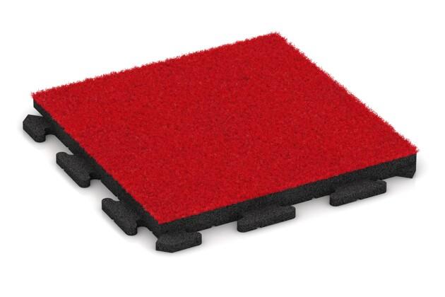 Kunstgras-Fitnessplatte von WARCO im Farbdesign Kunstgras rot mit den Abmessungen 500 x 500 x 40 mm. Produktfoto von Artikel 1373 in der Aufsicht von schräg vorne.