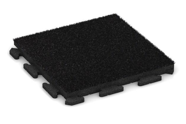 Kunstgras-Fitnessplatte von WARCO im Farbdesign Kunstgras schwarz mit den Abmessungen 500 x 500 x 40 mm. Produktfoto von Artikel 1375 in der Aufsicht von schräg vorne.