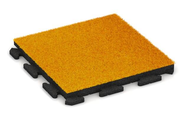 Kunstgras-Fitnessplatte von WARCO im Farbdesign Kunstgras gelb mit den Abmessungen 500 x 500 x 40 mm. Produktfoto von Artikel 1377 in der Aufsicht von schräg vorne.