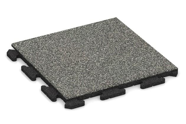 Fitness-Boden von WARCO im Farbdesign Grauer Granit mit den Abmessungen 500 x 500 x 30 mm. Produktfoto von Artikel 1221 in der Aufsicht von schräg vorne.