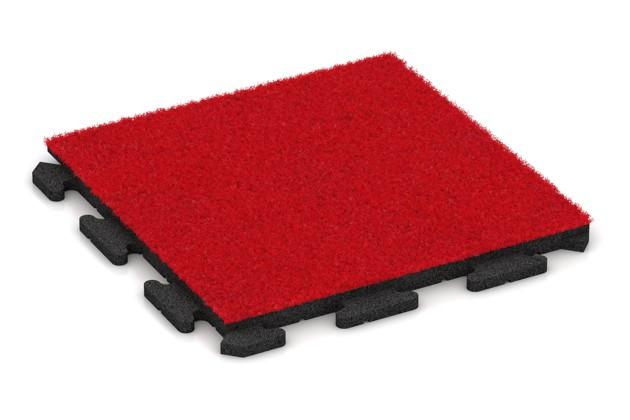 Kunstgras-Fitnessplatte von WARCO im Farbdesign Kunstgras rot mit den Abmessungen 500 x 500 x 30 mm. Produktfoto von Artikel 1240 in der Aufsicht von schräg vorne.