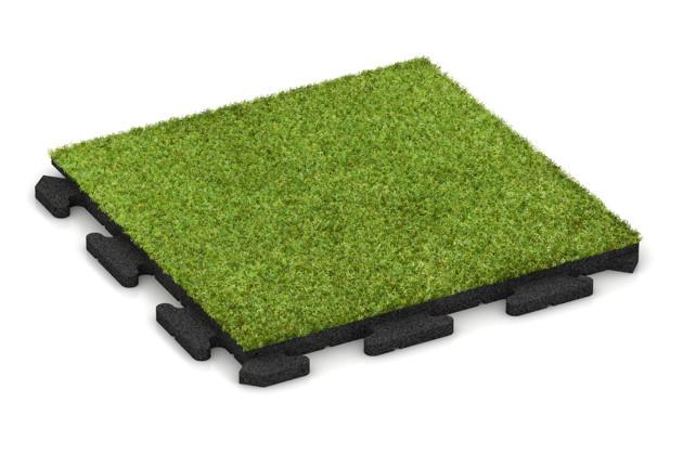 Kunstgras-Fitnessplatte von WARCO im Farbdesign Kunstgras grün mit den Abmessungen 500 x 500 x 30 mm. Produktfoto von Artikel 1241 in der Aufsicht von schräg vorne.