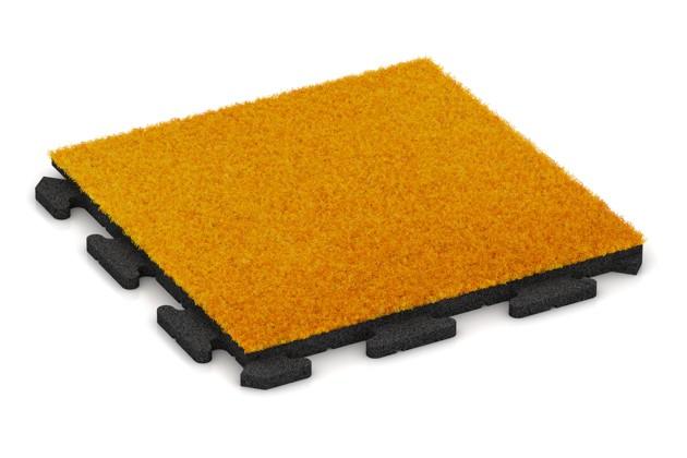 Kunstgras-Fitnessplatte von WARCO im Farbdesign Kunstgras gelb mit den Abmessungen 500 x 500 x 30 mm. Produktfoto von Artikel 1244 in der Aufsicht von schräg vorne.