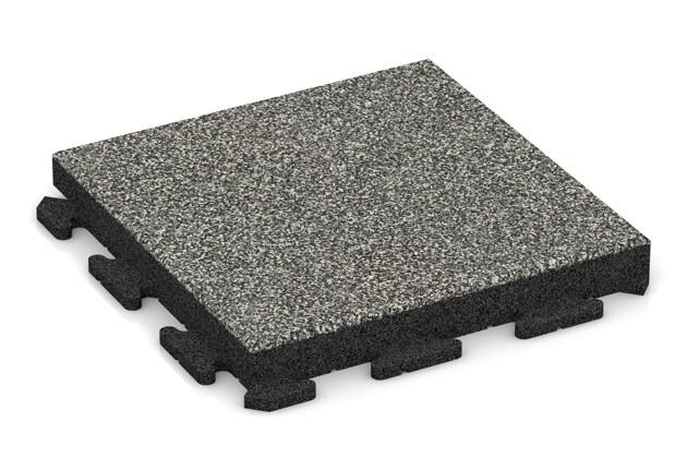 Fitness-Boden von WARCO im Farbdesign Grauer Granit mit den Abmessungen 500 x 500 x 60 mm. Produktfoto von Artikel 1525 in der Aufsicht von schräg vorne.