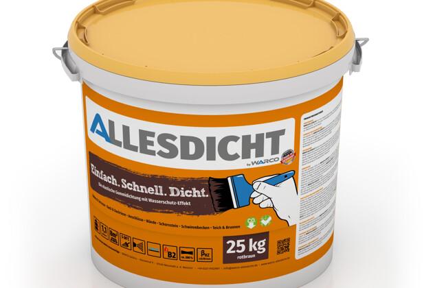 ALLESDICHT von WARCO im Farbdesign rotbraun mit den Abmessungen 25 kg. Produktfoto von Artikel 0018 in der Aufsicht von schräg vorne.