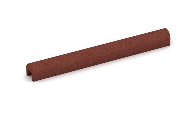 Bordsteinkappe von WARCO im Farbdesign ziegelrot mit den Abmessungen 1000 x 100 x 100 x 60 mm. Produktfoto von Artikel 2585 in der Aufsicht von schräg vorne.